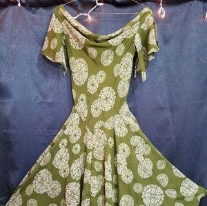 Green Celtic handkerchief dress, size 8